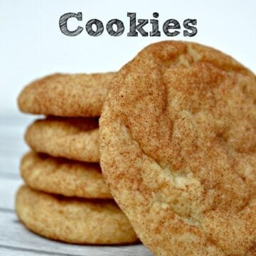 A close up of a stack of 5 Snickerdoodle cookies