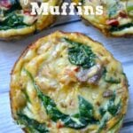 Closeup of the top of Spinach Quiche Muffin