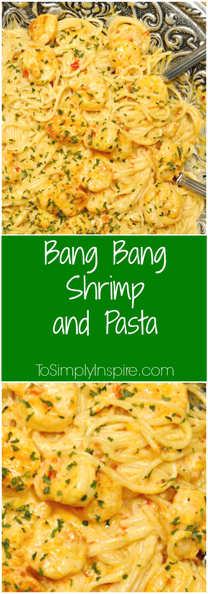 Bang Bang Shrimp and Pasta recipe served in a silver bowl with recipe name - Recipe found at ToSimplyInspire.com