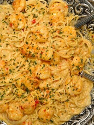 Bang Bang Shrimp Pasta recipe in a silver serving bowl