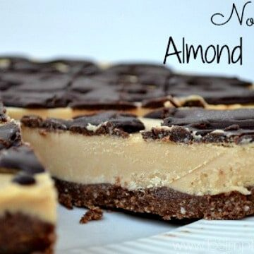closeup of a slice of almond butter pie