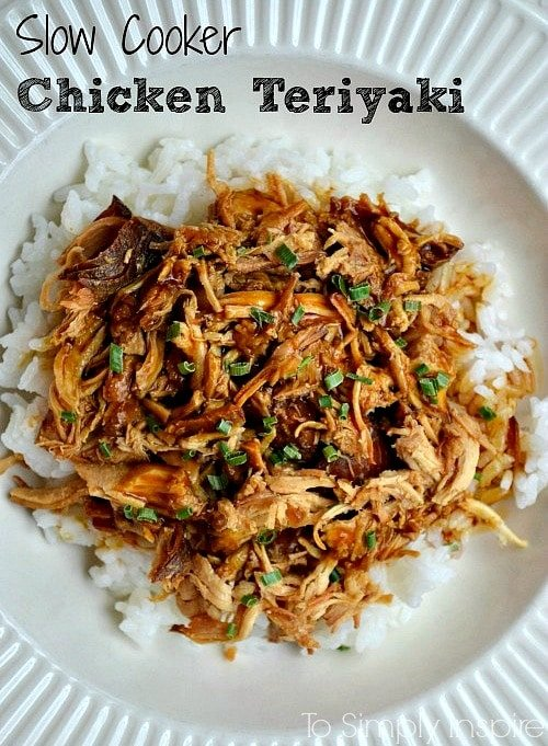 overhead picture of Shredded chicken teriyaki over white rice in a white bowl with text overlay