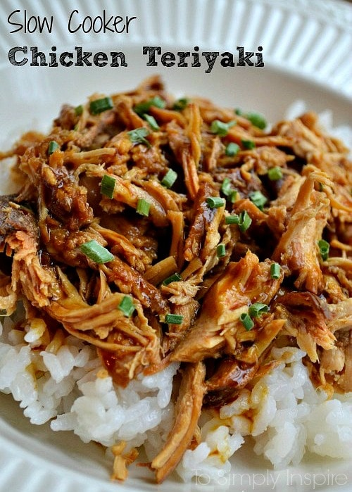 Shredded chicken teriyaki over white rice in a white bowl with text overlay