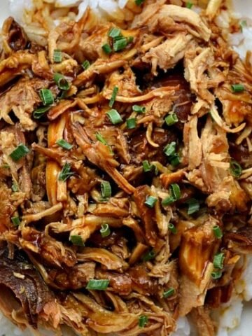 overhead picture of Shredded chicken teriyaki over white rice with scallions on top