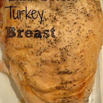 turkey breast in a white dish