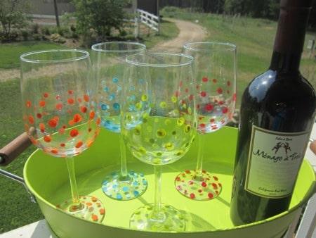 painted polka dot wine glasses