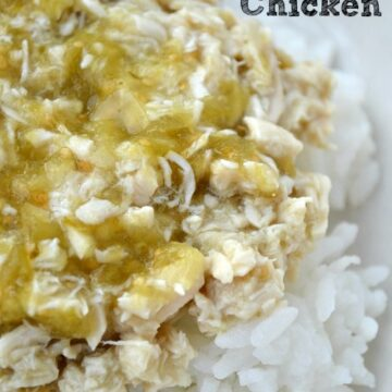 closeup of salsa verde chicken over white rice