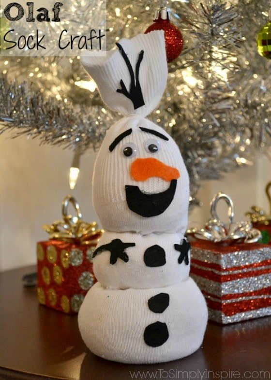 Create this adorable Olaf Sock Craft with the Frozen lover in your house.