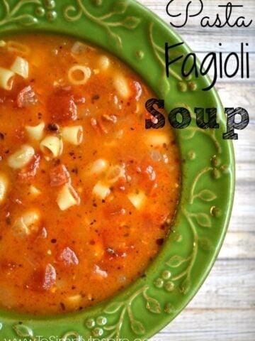 green bowlful of pasta fagioli soup with ditalini pasta
