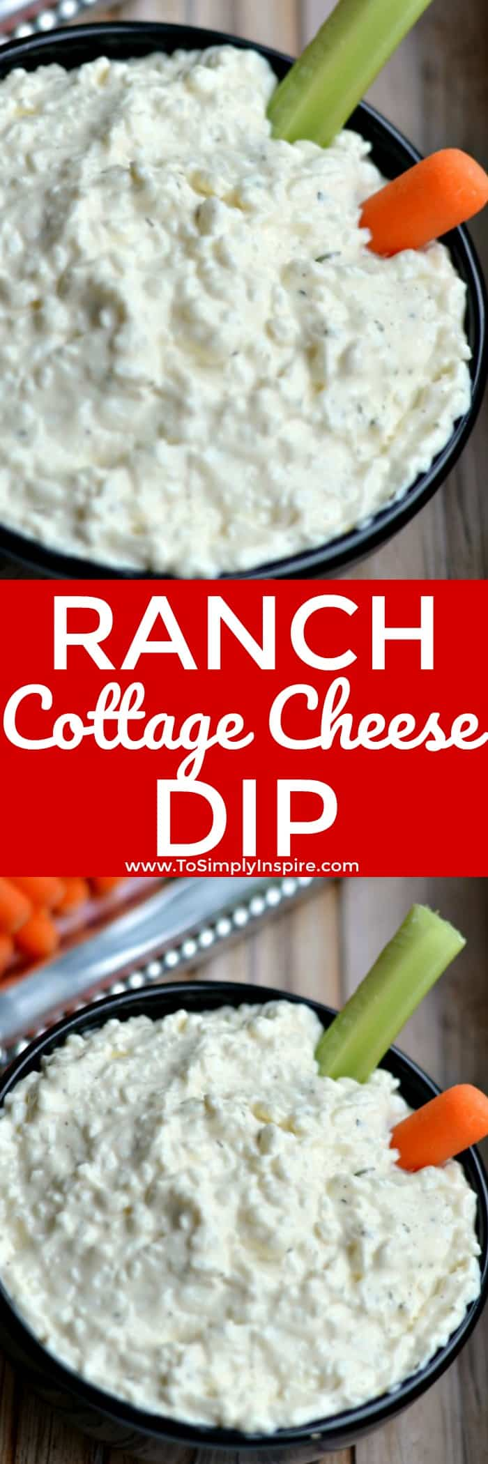 This tasty Ranch Cottage Cheese Dip will quickly become a favorite in your house. With only 3 ingredients, you will love how simple it is to whip up and serve with fresh veggies and crackers.