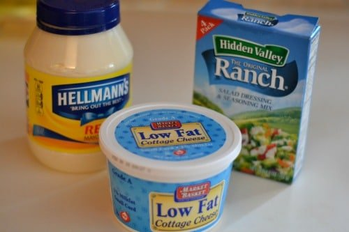 Ingredients for Ranch Cottage Cheese Dip - mayo, cottage cheese and ranch dressing packets