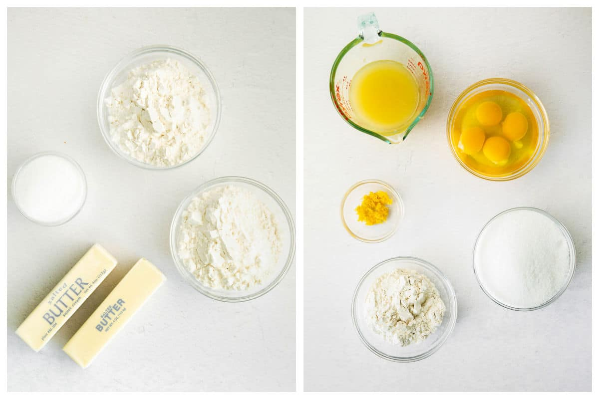 ingredients for lemon bars in white bowls - flour, butter, eggs, lemon juice