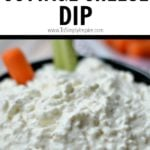ranch cottage cheese dip in black bowl with carrot and celery