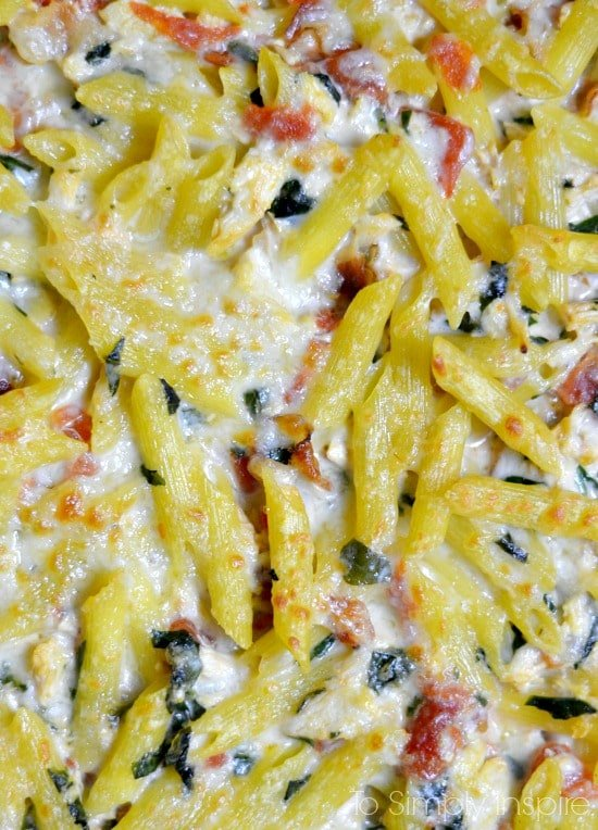 Closeup of cooked Bacon Ranch Chicken Casserole