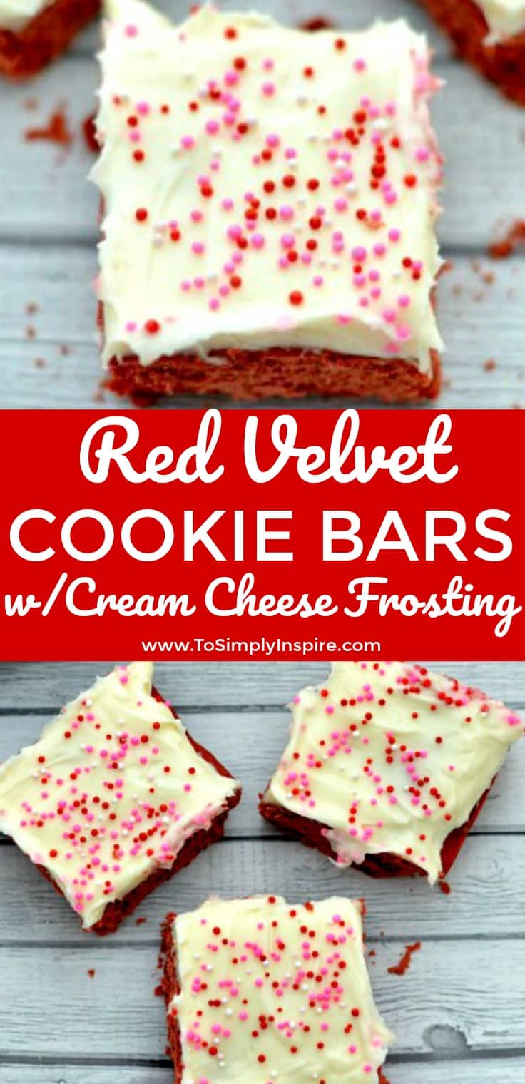 Scrumptious red velvet cookie bars with cream cheese frosting…oh my! Everyone will love this sweet treat!