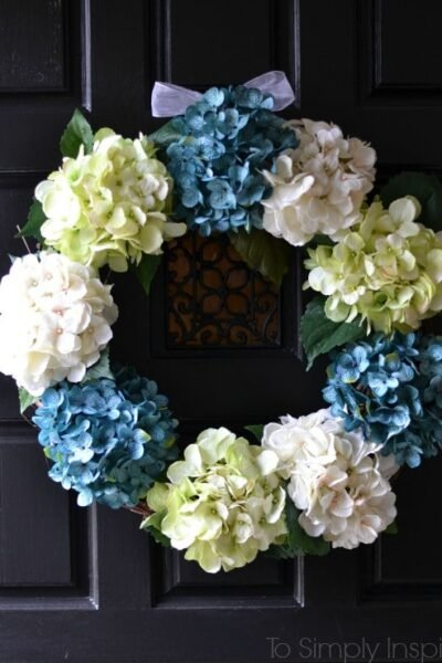 DIY Spring Wreath with Hydrangeas
