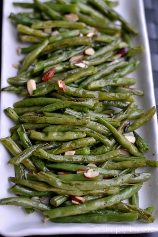 These Roasted green beans are absolutely wonderful with the simple addition of sliced almonds. They are quick to make and a great healthy side.