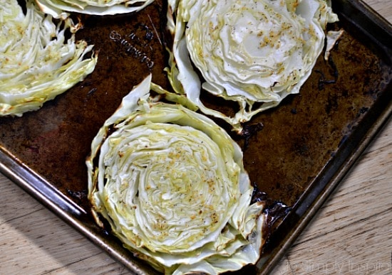 Baked Cabbage on a baking sheet
