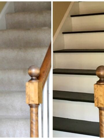 A set of stairs (one with tan carpet and one painted with black paint.