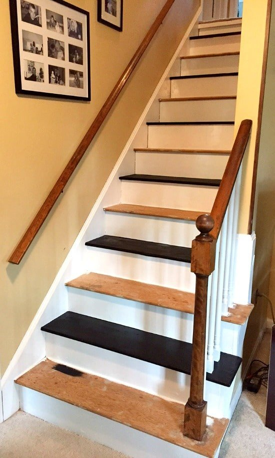 How to remove carpet from stairs and paint them for Painted stair treads