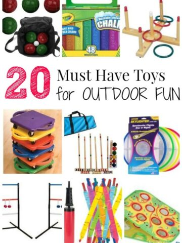 A collage of many different outdoor toys