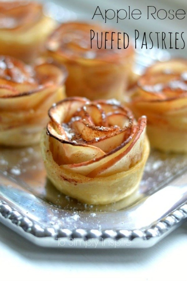 Apple Rose Puffed Pastries recipe on a silver platter.