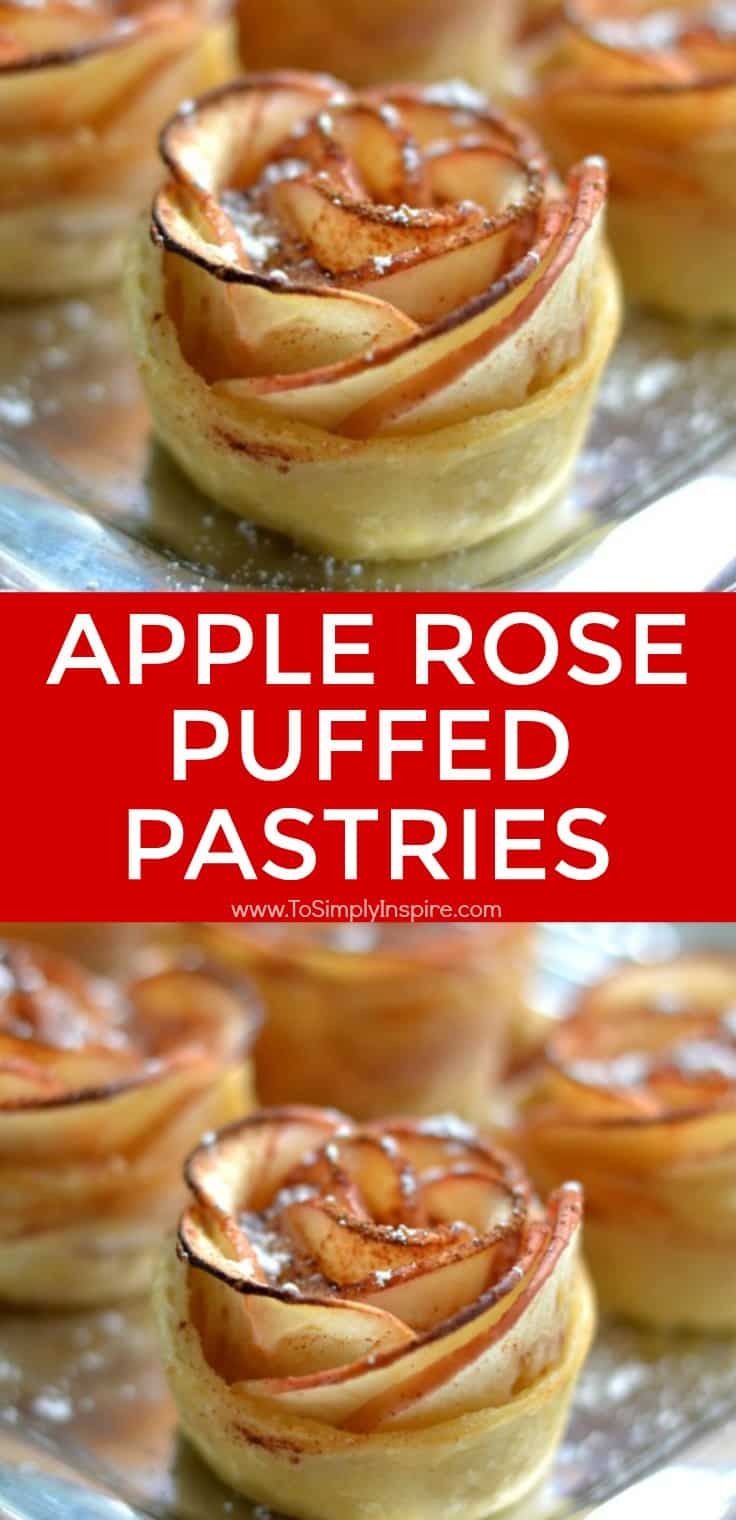 These Apple Rose Puffed Pastries are a simple yet elegant way to serve a unique dessert.