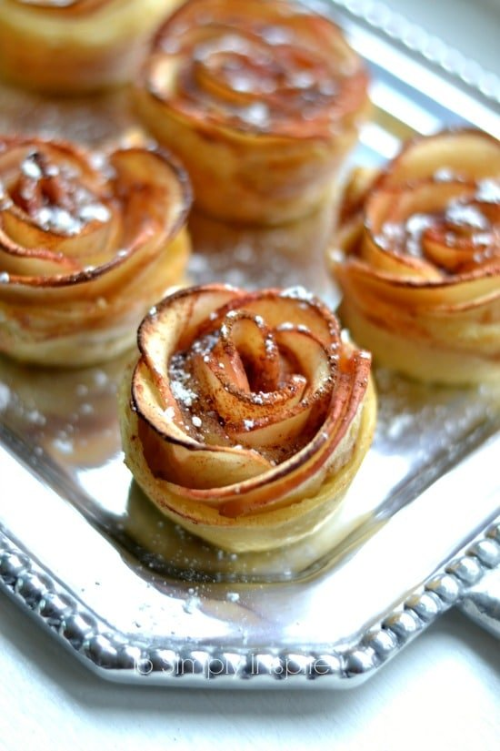 Apple Rose Puffed Pastries recipe on a silver platter