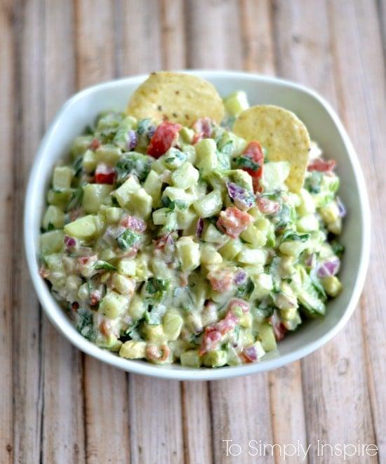 Cucumber Avocado Salsa recipe in a white bowl