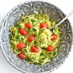 Pesto Zucchini Noodles in a big silver bowl