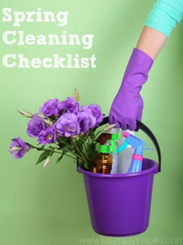 A purple bucket filled with purple flowers and spray bottles held by a woman wearing a purple glove