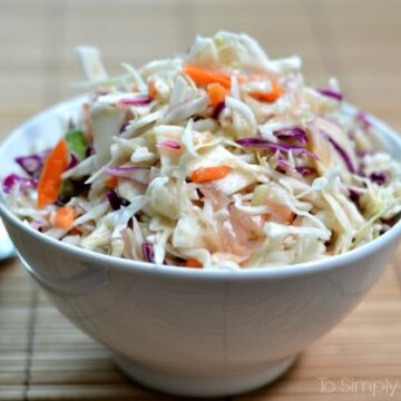 A close up of a bowl Ginger slaw