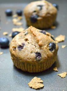 closeup of a blueberry muffin