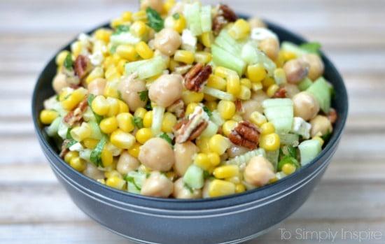 closeup of chickpea corn salad