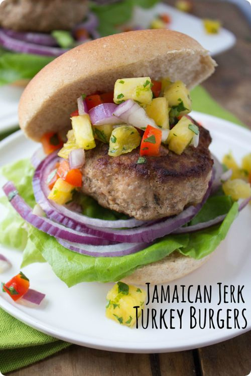 A Turkey Burger topped with pineapple salsa