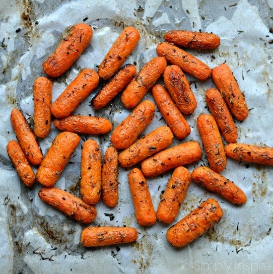 Roasted Carrots on a white parchment paper
