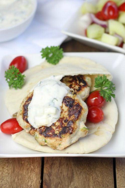 Turkey Burgers with tatziti