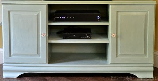 Chalk Paint TV Stand Makeover close up