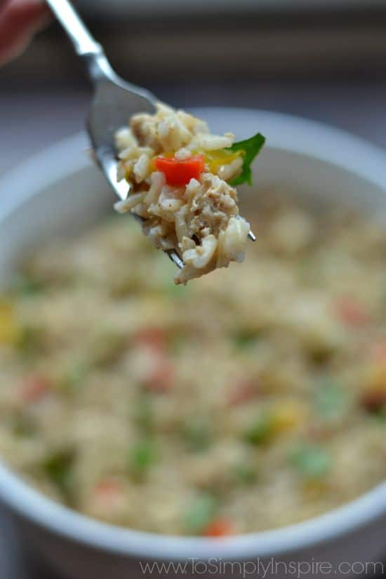 Dirty Brown Rice recipe in a white bowl