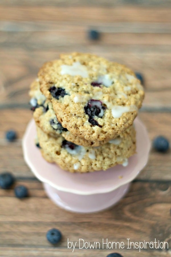 a stack of blueberry oatmeal cookies