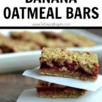 three strawberry Banana Oatmeal Bars stacked with white parchment paper in between