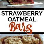 strawberry Banana Oatmeal Bars stacked with white parchment paper in between with text overlay