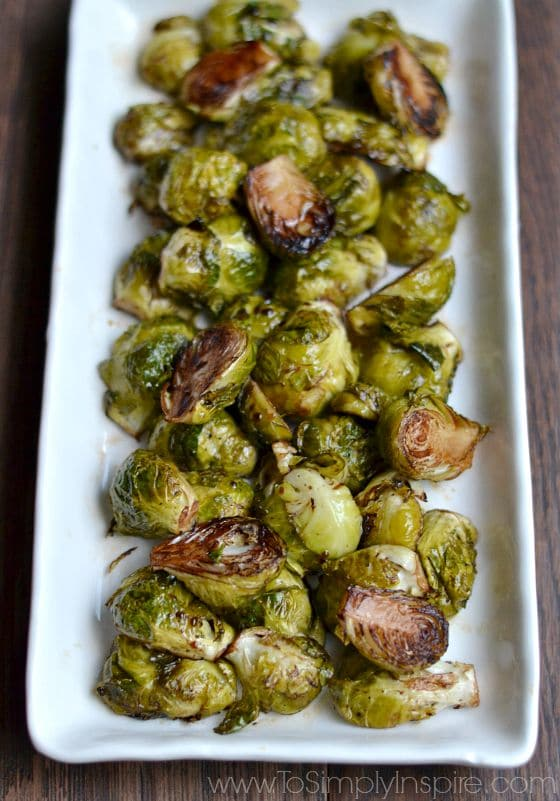 Balsamic Roasted Brussel Sprouts recipe on a white plate