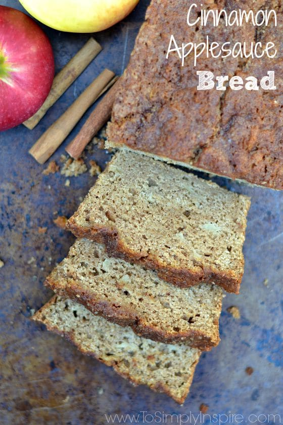 This Cinnamon Applesauce Bread, made with healthy swaps, is so moist and delicious!  It's topped with the perfect amount of sweet crumbles on top.