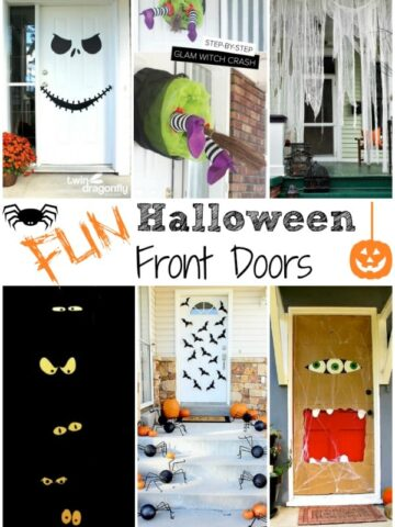 a collection of several front doors decorate for halloween