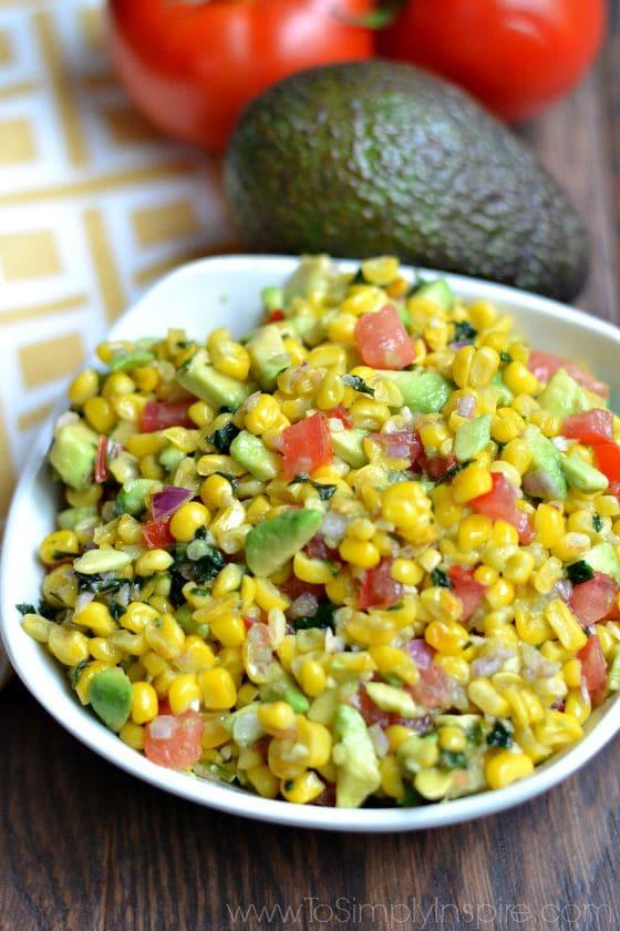 Corn Salsa recipe in a white bowl
