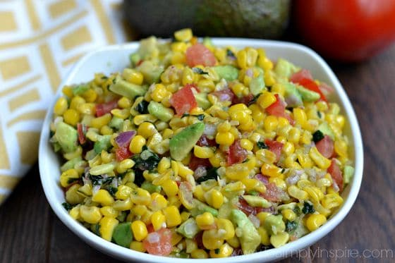 closeup of Corn Salsa recipe in a white bowl