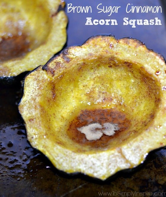 Baked Brown Sugar Cinnamon Acorn Squash on a baking sheet