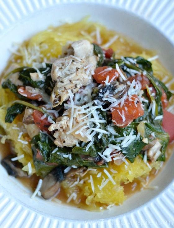 Chicken Spinach Mushroom Spaghetti Squash3