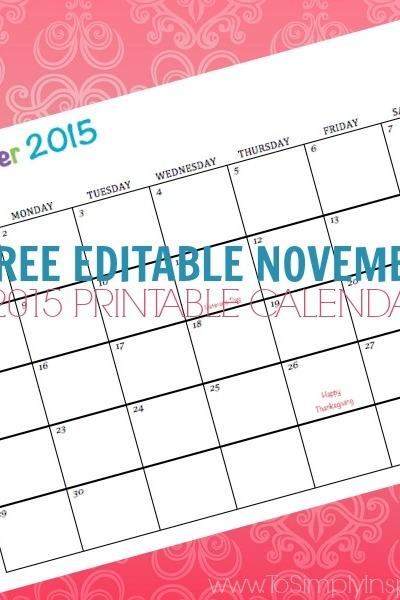 Free Editable November 2015 Printable Calendar